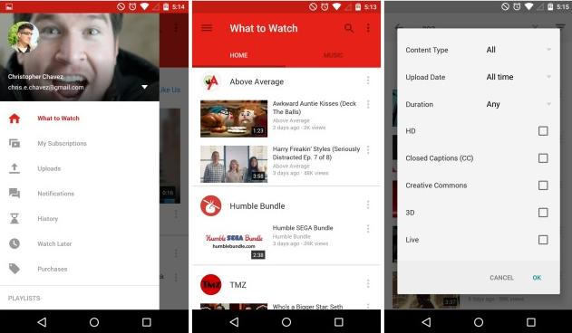 Edhe YouTube për Android me Material Design1