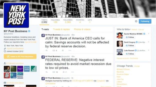 Hakohen llogaritë në Twitter të UPI-së dhe New York Post 2