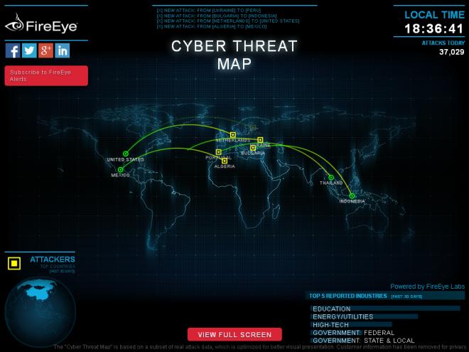 Harta e sulmeve kibernetike nga 'FireEye'